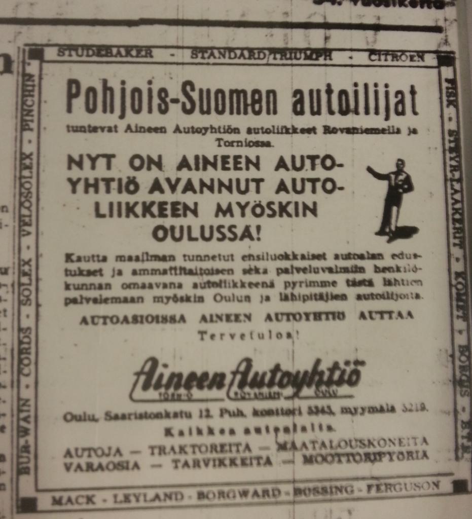 Oulun liikkeen avaamista mainostettiin näyttävästi vuonna 1953